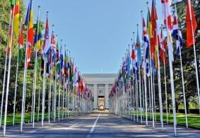 Palais des Nations in Geneve waar de 69e zitting van het CEDAW Comite plaatsvond